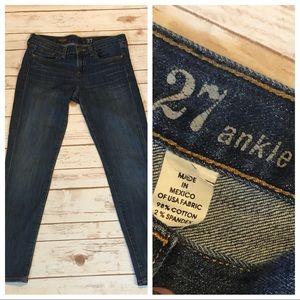 J.Crew Denim Ankle Toothpick Jeans Size 27